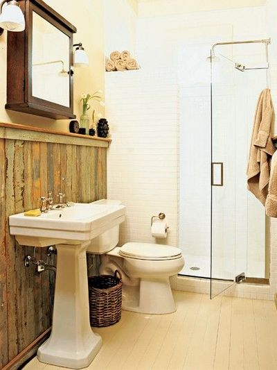 Rustic recycled bathroom paneling bath ideas juxtapost Bathroom designs wood paneling
