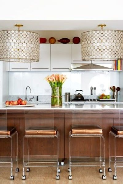 Statement lighting. Oly Studio Serena Drum Pendant. #kitchen http://www.laylagrayce.com/Products/Oly-Studio-Serena-Drum-Chandelier-Brass OLY126.aspx
