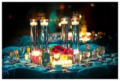 Floating candles centerpiece #wedding #reception #blue #cand ...