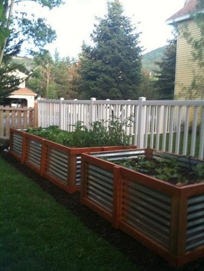 Raised garden beds corrugated steel and cedar for my backyard juxtapost for Corrugated metal raised garden beds