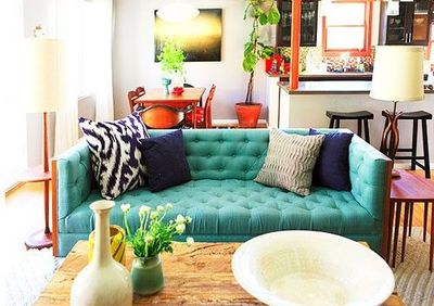 Teal Tufted Sofa