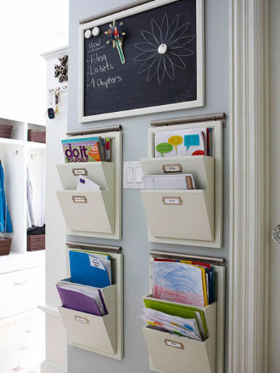 Everything needs a home, even stacks of mail — get things under control by creating a mail organizer. Make labeled folders for incoming and outgoing mail, mail to file, bills and for every family member. A folder organizer or a box can serve as a handy holding place for your newly created mail folders.