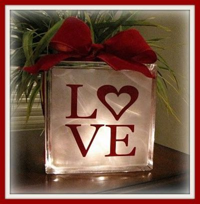 valentine's Glass Block craft