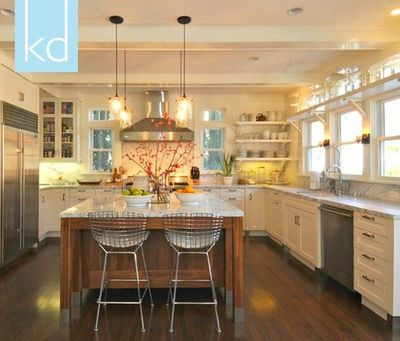 White cabinets marble counters wood island windows for Open kitchen no island