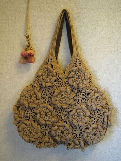 Crochet Bag Japanese Pattern : Crochet: Rose bag -- Japanese pattern. Love it love it ...
