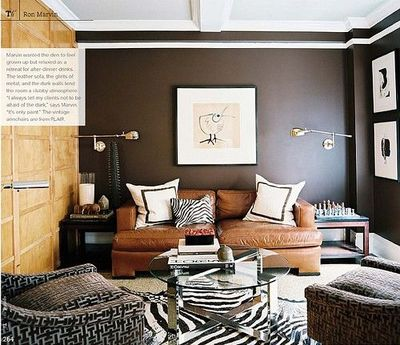 Leather couch house home decor brown livingroom for Brown zebra living room ideas