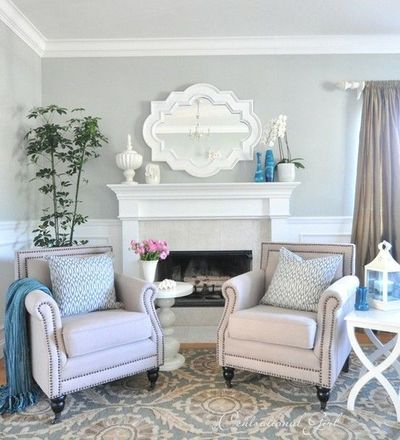 Light grey and blue living room for the home juxtapost for Light grey living room ideas
