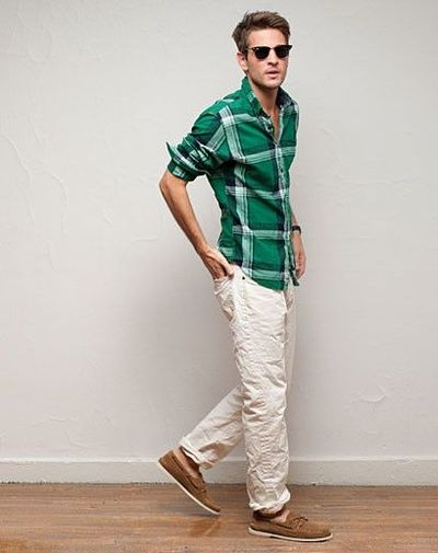 summer green plaid shirt, beige pants / men fashion