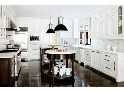 white kitchen cabinets with dark floors. top over sized luxury