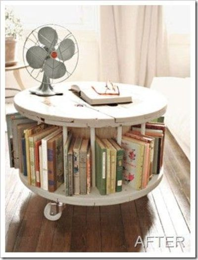 Cable Spool Bookcase Coffee Table Thingy