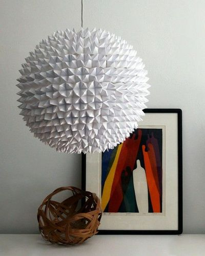 Pendant Lamp Made From Hundreds of Folded Fortune Tellers