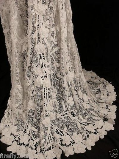 Victorian 1800s irish crochet lace wedding dress gowns for Crochet lace wedding dress pattern