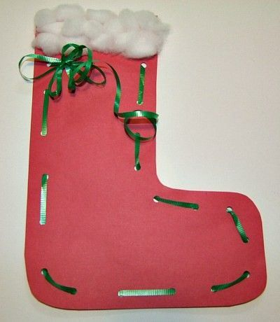 Christmas stocking lacing craft from kiboomu preschool for Stocking crafts for toddlers