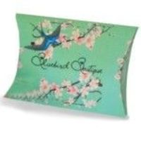 Packaging for Bluebird Boutique jewellery. Each item comes wrapped in pink tissue, sealed with a Bluebird sticker and in one of these gorgeous little packets.