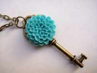 vintage style brass short heart key and blue resin flower necklace, $4.