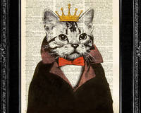 Cat King ORIGINAL ARTWORK hand painted Mixed Media art print on 8x10 Vintage Dic...