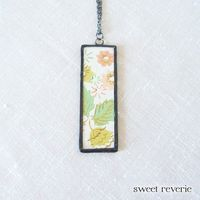 Mint Green Gold Salmon Coral Pink Floral Pendant by asweetreverie, $28.00