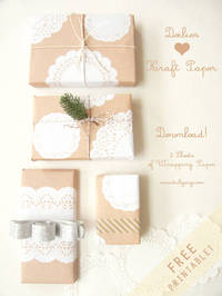 *** FREE PRINTABLE [ PART 1]: Doilies + Kraft Paper: wrapping paper ***