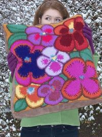 Wildflower Cushion is a knitted pattern by Marta McCall for TinkkniT.com #knit #knitted #knitting #felt #flower #color #yarn #pillow #cushion #pattern