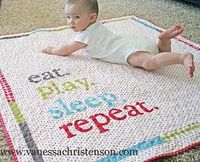"""adorable """"eat. play. sleep. repeat."""" baby quilt"""