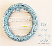 The Vintage Lemon: Handmade Holidays: DIY lace earring holder, and how to distress with candle wax
