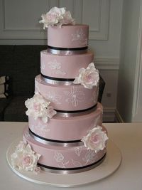 Pale Pink Wedding Cake via Designer Cakes by Effie