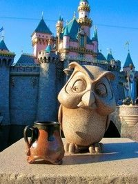 Yep, Disneyland. My Little footed mug taking on the owl. Watch out princess, here comes the mug!