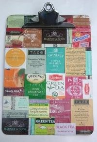 Tea Bag Wrapper Clip Board. ---- modge podge something with tea bags!