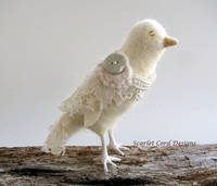 Needle Felted Bird Lacey White Dove Soft Sculpture from etsy.com