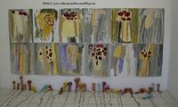 Mushroom paintings by 3-5 year olds