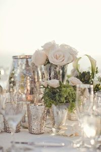 Palest pink roses and mercury glass