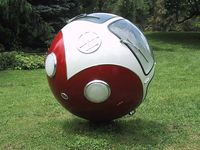 Lars-Erik Fisk created this way cool VW Sphere that has a steering wheel and rolls. He also made a John Deere and UPS ball as well. This design is out of the box for sure! http://www.darkroastedblend.com/2007/02/vw-bus-ball-and-other-rolling-art.html