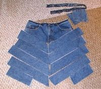 chevron style jean skirt re-make...great idea to make peach skirts out of the boys clothes