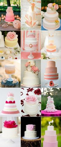 pink and peach wedding cakes.