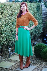 Fifties inspired: red gingham, tobacco brown sweater, green skirt and tan knee high boots