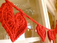 crochet heart garland: i would learn to crochet for this.