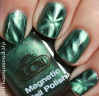 'Le Magnetique' Magnetic Fingernail polish - This is a rather unusual application of magnetic principals. The nail polish is applied in a normal way but before you let it dry you hold the magnet (included with the bottle) over the wet poli...