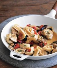 Tortellini with eggplant and peppers. Made this for dinner tonight...success!