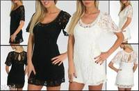 Sexy Layered Lace A-line Swing Keyhole Mini Cocktail Dress from 2k2d-online.com