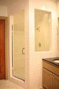Bathroom remodel- Love how they opened everything up for more light