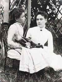 8 year old Helen Keller and Anne Sullivan vacationing at Cape Cod in 1888