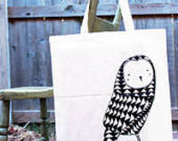 Owl Tote Bag - Black from etsy.com