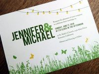 I love the colors and the light bulbs on this wedding invitation.