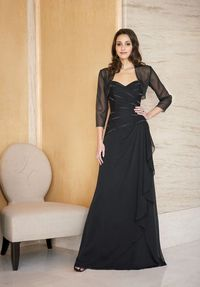 A-Line Sweetheart Floor Length Tiffany Chiffon Beading Mother of the Bride Dress Style J2267