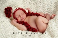 Classic Ruby Red Rose Ear Flap Hat Crochet by SunsetCrochet