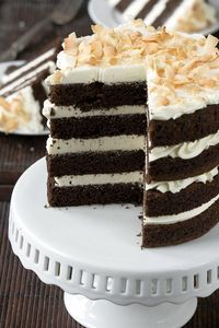 Coconut whipped cream chocolate cake.
