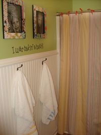 cute idea with the pictures for the kids bathroom