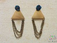 Blue Druzy Geometric Dangle Earrings