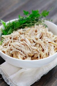 All-purpose Shredded Crock Pot Chicken. I make huge batches of this and then freeze to use in soups or for BBQ chix sandwiches and it's super tasty.