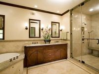 square sink with square mirrors